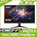 【hd數位3c】ACER VG270 S(2H1P/2ms/IPS/165Hz/含喇叭/FreeSync/HDR10)電競機