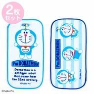 小禮堂 哆啦A夢 純棉割絨方巾組 手帕 小毛巾 9x18cm (2入 藍白 竹蜻蜓)