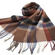 S.T.Dupont 羊駝毛混紗時尚大格紋圍巾-經典咖