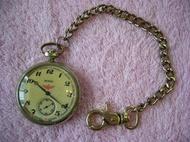 早期蘇聯製機械懷錶.發條懷錶~~有秒針.火車圖案~~MOLNIJA莫爾尼亞~~MADE IN USSR