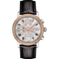 【TISSOT 天梭】18K玫瑰金 Bridgeport 機械錶-銀x黑/38mm(T9214274603300)