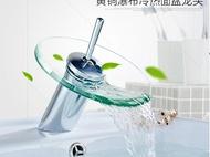 不鏽鋼304水龍頭全銅面盆台上盆玻璃水龍頭冷熱玻璃單把浴室創意瀑布不銹鋼水龍頭維多原創