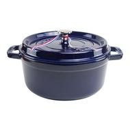 【Staub】24cm鑄鐵 圓形鑄鐵鍋4QT/3.8L-深藍色_含動物造型鍋蓋頭_比漾廣場