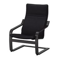 IKEA POÄNG 扶手椅, 黑棕色/knisa 黑色