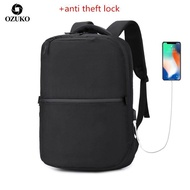 Ozuko เดินทางกระเป๋าเป้สะพายหลังกระเป๋านักเรียนแฟชั่นผู้ชาย USB 15.6 กระเป๋าเป้สะพายหลังแล็ปท็อป