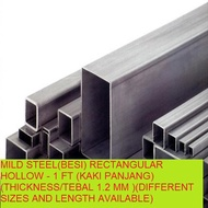 MILD STEEL(BESI) RECTANGULAR HOLLOW - 1 FT (KAKI PANJANG)(THICKNESS/TEBAL 1.2 MM )(DIFFERENT SIZES AND LENGTH AVAILABLE)