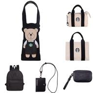 星巴克《先貨》黑Bearista隨行杯袋 女神帆布零錢包/提袋 黑色輕巧後背包 黑色品牌證件掛牌  黑色女神零錢包