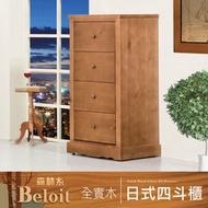 IHouse-伯洛 森林系全實木四斗櫃-2尺棕色
