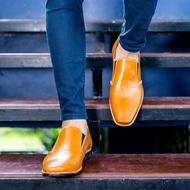 คัชชูหัวเเหลมหนังเเท้สีน้ำตาลอ่อน รองเท้าทางการสีน้ำตาลอ่อน รองเท้าผู้ชายสีน้ำตาลอ่อน คัชชูยาวผู้ชายสีน้ำตาล รองเท้าหนังเเบบสวม