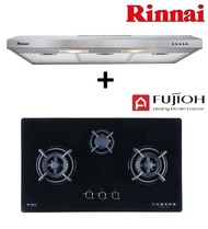 RINNAI RH-S139-SS 90CM SLIMLINE HOOD + FUJIOH FH GS 5530 SVGL 3 BURNER GLASS HOB WITH SAFETY DEVICE