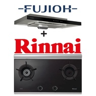 FUJIOH FR-MS1990R 90CM GLASS BLACK SLIMLINE HOOD WITH TOUCH CONTROL + RINNAI RB-2CG 2 BURNER INNER FLAME GLASS HOB