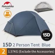 Naturehike Mongar Camping เต็นท์2-3คน1.8กก.15D/20D ไนลอนผ้า Double เต็นท์เต็นท์เต็นท์กลางแจ้งกันน้ำ Windproof