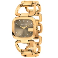 Gucci 古吉YA125408經典方G手環時尚腕錶/咖啡旭日紋面32*30mm