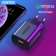 CHOETECH อแดปเตอร์ ชาร์จเร็ว Quick Charge 3.0 18W USB Charger for Xiaomi Redmi 6 7A Note 7 8 Pro Fast Wall Charger EU/US QC3.0 Adapter Phone Charger