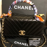Chanel coco handle28黑色韖製牛皮復古金扣三用包