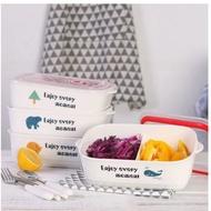 #現貨#日式密封陶瓷飯盒微波爐便當盒帶蓋學生餐具分格長方形分隔保鮮碗