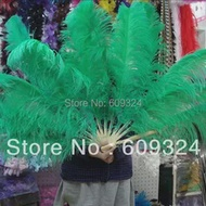 Kelly GREEN Ostrich Feathers Fan hand made for costumes