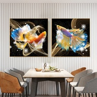 New DIY5DDiamondPainting Wealthy and Lucky Golden Dragon Fish Koi two painting Diamond drawing Embroidery Wall Sticker Home Decor Crafts