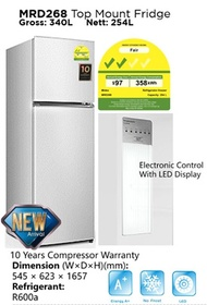 Midea 254L 2 Door Fridge MRD268 * 2 Years Parts and 10 Years Compressor Warranty *