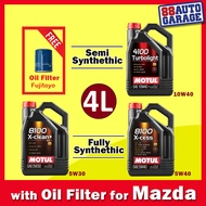 Motul Fully Synthetic 8100 X-cess 5W40  8100 X-cleanEFE 5W30,  Semi Synthetic 4100 Turbolight 10W40, (4L or 1Lx4) [with Oil Filter for Mazda]