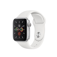 Apple Watch Series 5 Silver Aluminium Case with White Sport Band 40mm GPS + Cellular