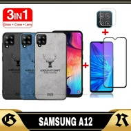 MURAH 3IN1 DEER Case Samsung A12 / 2IN1 Softcase SAMSUNG A12 / Casing Samsung A12 + Tempered Glass