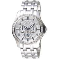 GUESS 紐約時尚風全月曆手錶-銀白-GWW0147L1-40mm
