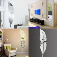 Silver Removable Feather Mirror Wall Sticker Set