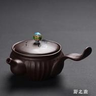 功夫茶具茶壺家用精刻字泡茶器過濾球孔單茶壺側把紫砂壺
