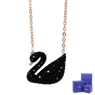 【SWAROVSKI 施華洛世奇】黑色水晶天鵝造型玫瑰金項鍊(5204134)