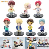 Alloving 7 Pcs BTS Figure With Removable Head Cake Topper Decorations Children Mini Toys Birthday Party Supplies