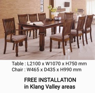 Q 10 Solid Wood 1+8 Dining Set / Solid Wood 8 Seater Dining Table Set / Solid Wood Dining Table With 8 Chairs / Solid Wood Dining Set / Set Meja Makan Untuk 8 Orang (Kayu Getah Asli) (TCG)