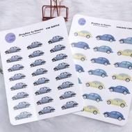 Vintage VW Beetle  'Car Icon Sticker'  by StickHertz
