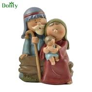 Dolity Resin Figurine Holy Family Nativity Statue Mary Joseph Miniature Sculptures