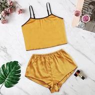 Korean Sleepwear Pajama Set For Women Nightwear New Women Satin Silk Camisole Shorts Set Sleepwear Pajamas Lingerie Underwear