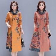 中大尺碼長袖洋裝 假兩件洋裝秋季新款中國風精美印花高領長袖中長款裙 ZJ4869《小桃美衣》蝦皮上市《小桃美衣》新品上市
