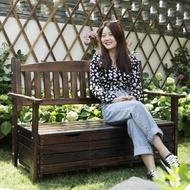 室外防腐木公園椅戶外長椅陽台儲物椅長凳子庭院座椅休閒靠背椅子