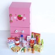 現貨~粉色草莓🍓木製冰箱扮家家酒組~含製冰機盒 微瑕品