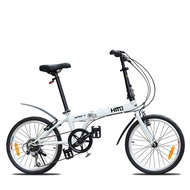 wjKK HITO Foldable Bicycle 20 Inch 6-speed Ultra-light Men's And Women's Folding Bike Thickened High Carbon Steel Frame