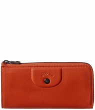 Longchamp Womens  Le Pliage Cuir Leather Zip Around Wallet