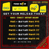 Digi RM5 RM10 Topup Reload (Pin code & Instant Direct Type) Tonewow To4 Recharge Murah Cheap Discount [Ready Stock]