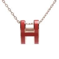 【Hermes 愛馬仕】經典Pop H立體簍空橢圓LOGO項鍊(玫瑰金X珊瑚紅H147991F-ROUGE CORAIL-ROSE)