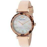 Original Emporio armani_Women's 'Gianni T-Bar' Quartz Plastic And Leather Casual Watch  Color: Beige (Model: Ar11004)