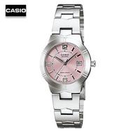 Velashop นาฬิกาข้อมือผู้หญิง  Casio สายสแตนเลส รุ่น LTP-1241D-4ADF - สีเงิน/ชมพู, LTP-1241D-4A, LTP-1241D