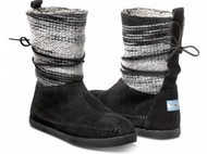 零碼出清TOMS  NEPAL BOOTS BLACK WOOL STRIPE羊毛【雪靴】