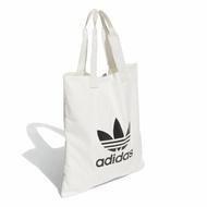 【adidas 愛迪達】側背包 Trefoil Shopper bag 愛迪達 三葉草 購物袋 外出輕便 白 黑(DX2047)