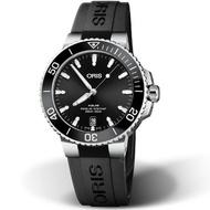 【ORIS 豪利時】Aquis時間之海300米潛水錶(0173377324134-0742164FC 黑x橡膠)