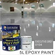 5Litre ( EXECUTIVE GREY 0104) Paint Epoxy Floor Paint Coating ( FOUR SEASONS ) 5L (Cat Lantai Simen Epoxy)