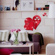 Mirror Wall Stickers 3D Mirror Love Hearts Wall Sticker Removable