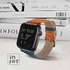 Apple Watch Series 1 2 Series 3 Series4 Series5 Series6 42 / 44mm 撞色炫彩 真皮錶帶 亮橘色+孔雀藍